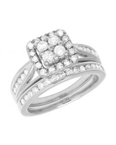10K White Gold Ladies Diamond Square Halo Wedding Bridal Set 1 Ct