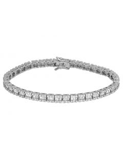 10K White Gold Real 5.75 CT Diamonds Baguette Tennis 5MM Bracelet 8""