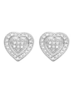 Ladies 10K White Gold Genuine Diamond Double Heart Stud Earring 1/4 Ct 10MM