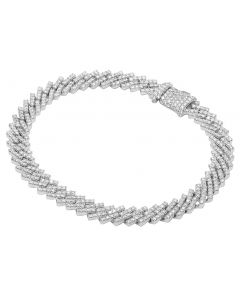 "10K White Gold 1 Row Diamond Miami Cuban Bracelet 8MM 8.5"" 6.5CT"