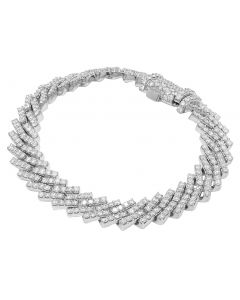 "10K White Gold 1 Row Diamond Cuban Bracelet 12MM 8.5"" 15.25CT"