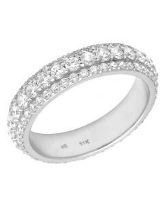 14K White Gold Real Diamond 3 Row Band Eternity Ring 2.60 CT 5MM