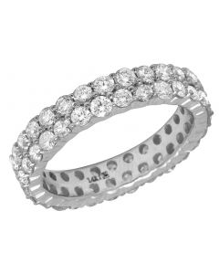 14K White Gold Real Diamond Eternity Band Ring Unisex 5MM 3 CT