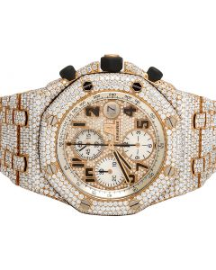 18K Rose Gold Audemars Piguet Royal Oak Offshore Diamond Watch 36.0 Ct