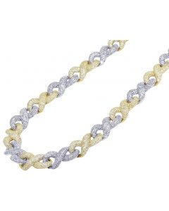 Two-Tone Gold Infinity Cuban Diamond Chain 19.75CT 12MM 18""