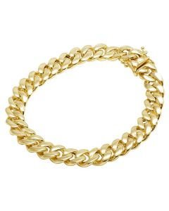 10K Yellow Gold Semi Hollow Miami Cuban Box Clasp Bracelet 9MM 8-9 Inches