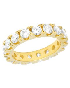 10K Yellow Gold Diamond Solitaire Eternity Wedding Band Ring 4.85 CT 3.5MM