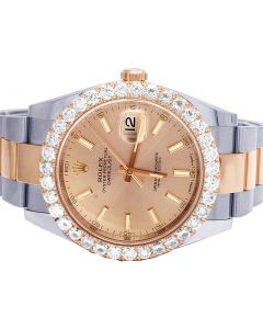 Rolex 18K Everose Gold Steel Datejust II 126331 41MM Diamond Watch 6.0 Ct