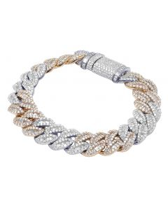 10K Two Tone Baguette Diamond Miami Cuban Bracelet 14MM 14CT 8""