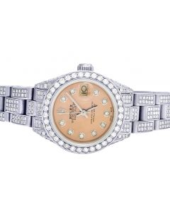 Ladies Rolex Datejust 26MM Pink Dial Diamond Watch 9.75 Ct