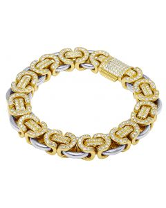 "10K Two-Tone Diamond Byzantine Bracelet 13MM 8.25"" 9.8CT"