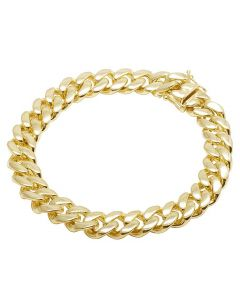 10K Yellow Gold Semi Hollow Miami Cuban Box Clasp Bracelet 12MM 8-9 Inches