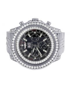 Custom Breitling Bentley 6.75 A4436412 48MM Black Dial Diamond Watch 10.5 Ct