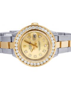 Ladies Rolex Datejust 26MM 18K/ Steel Champagne Dial Diamond Watch 3.0 Ct