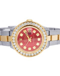 Ladies Rolex Datejust 26MM 18K/ Steel Red Dial Diamond Watch 3.0 Ct