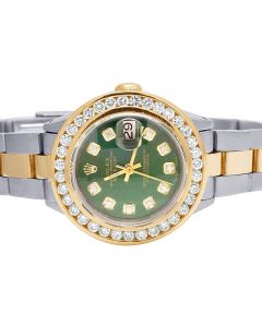 Ladies Rolex Datejust 26MM 18K/ Steel Green Dial Diamond Watch 3.0 Ct
