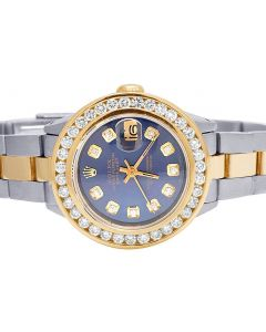 Ladies Rolex Datejust 26MM 18K/ Steel Blue Dial Diamond Watch 3.0 Ct