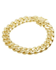10K Yellow Gold Semi Hollow Miami Cuban Box Clasp Bracelet 14MM 8-9 Inches