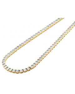 Mens 10K Yellow Gold 1 Row Tennis Choker Real Diamond Chain Necklace 10.15CT 22""