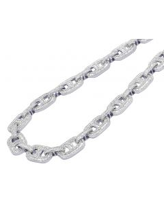 White Gold Mariner Link Baguette Diamond Necklace 26.75CT 14MM 23""