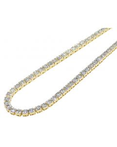 "10K Yellow Gold 12.5 CT Diamond Baguette Tennis 5MM Necklace 18""-21"""
