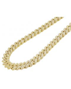 Yellow Gold 3 Row 3D Prong Diamond Miami Cuban Chain 12MM 18.5CT 22""