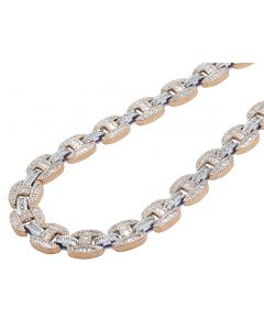 """10K Two Tone Rose/White Real Diamond Baguette Gucci Mariner Chain Necklace 15MM 20"""""""