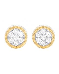 10K Yellow Gold 3D Fluted Round Cluster Diamond Stud Earring 0.65 Ct 8MM