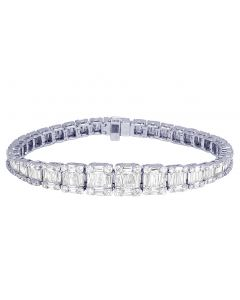 10K White Gold Real 10.75 CT Baguette Diamonds Tennis Bracelet 8""