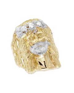 Men's 10K Yellow Gold Lab Diamond Jesus Ring 30MM
