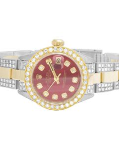Ladies Rolex Datejust 18K/ Steel Two Tone Red 26MM Diamond Watch (6.0 Ct)