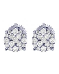 10K White Gold Real Diamond Cluster Stud Earrings 0.50 CT 7MM