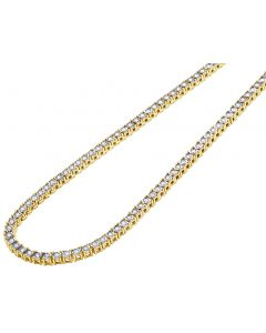 Yellow Gold Illusion Set Tennis Chain 4 MM 16-24""