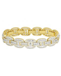 Yellow Gold 10.85CT Diamond Baguette 14MM GG Link Bracelet 8.5""