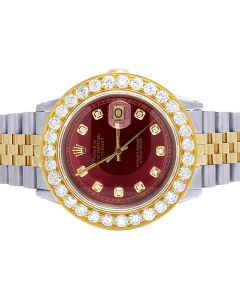 Rolex Datejust 18K /Steel Two Tone 36MM Red Dial Diamond Watch 6.75 Ct