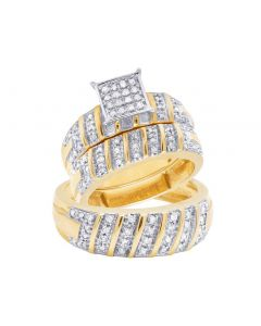 10K Yellow Gold Real Diamond Trio Wedding Ring Set 0.50 CT