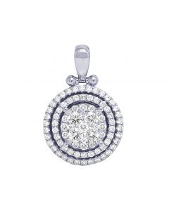 14K White Gold 3 Row Halo Cluster Diamond Pendant 2.4 CT 1.25""