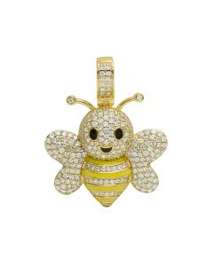 "14K Yellow Gold Diamond Bumble Bee Emoji Pendant 1.41"" 2.08CT"