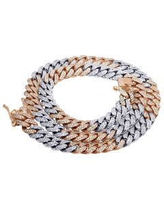 """10K Rose/ White Gold Real Diamond Solid Cuban Necklace Chain 24.75 CT 26"""""""