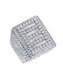 Mens 10K White Gold Baguette Real Diamond Pinky Ring 10.45 CT