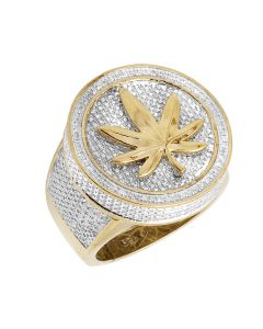 Yellow Gold Finish Maple Leaf 3D Designer Real Diamond Pinky Ring .33ct