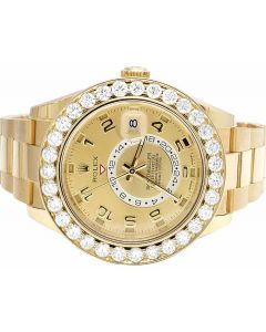 18k Rolex Sky Dweller 326938 Yellow Gold Diamond Watch 8.5 Ct