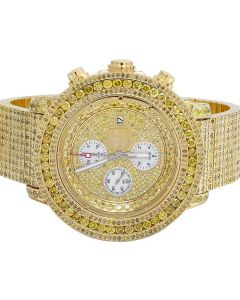 Custom Breitling A13370 Super Avenger Canary Diamond Watch 24.75 Ct