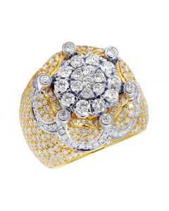 Mens 10K Two Tone Gold Crown Real Diamond Flower Cluster XL Pinky Ring 7.15CT