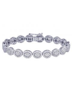 Ladies white Gold Oval Diamond Tennis Bracelet 4.5 CT