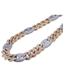 14K Two Tone Diamond Cuban Gucci Chain 20 MM 59.75 CT