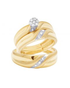 10K Yellow Gold Diamond Cluster Trio Wedding Ring Set 0.16 Ct