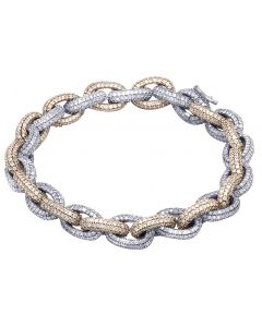 10K Two Tone Gold Real Diamond Rolo H Link Bracelet 16.05 CT 9MM