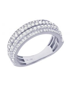 Men 10K White Gold Real Diamond 4 Row Wedding Band Ring 1.25CT 7MM
