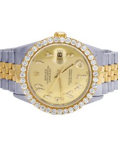 Rolex Datejust 18K/Steel Two Tone 36MM Champagne Dial Diamond Watch 3.5 Ct